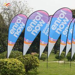Design personalizado impresso no exterior Trade Show Lágrima Publicidade Praia de penas que arvoram pavilhão Banner