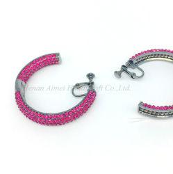 Clip d'oreille Zircon-Inlaid Fashion élégant Semi-Circular grand anneau Earrings