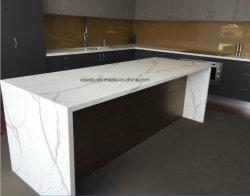 Prefabricados de piedra de cuarzo blanco cocina sobremesa para la tendencia de cocina