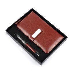 Barato itens promocionais de cores simples PU Notebook Couro caneta de Metal Caixa de oferta definido