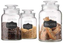 De ronde Duidelijke Koekjestrommel van het Voedsel van het Glas van de Apotheker met Bord met Strakke Deksels