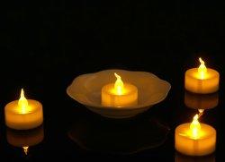 Tea Light LED, ambre jaune de scintillement de l'ampoule, fonctionnant sur batterie longue durée de vie électrique bougie votive, réaliste et lumineux Faux lampes Tealight Dia 1.4