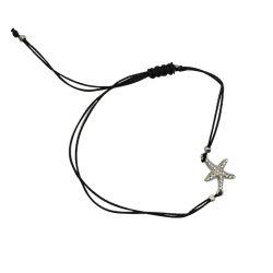 Stelle marine d'argento con il braccialetto tessuto corda colorato