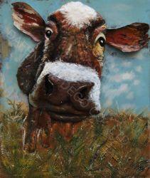 La decoración de metal Pintura al Óleo de arte de la pared de hierro de la vaca oídos dimensión 3D