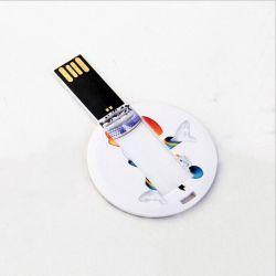 بطاقة ائتمان USB Memory Stick بطاقة ملوّن ذات جهة مزدوجة دائرية صغيرة محرك أقراص USB محمول للشعار المخصص