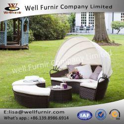 Wohles Furnir T-046 Brown Relexing Circular Rattan Day Bed mit Canopy für Garten
