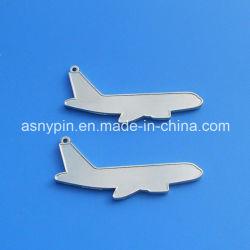 Hotsale aviones en blanco de plata colgante de metal de la forma de llavero