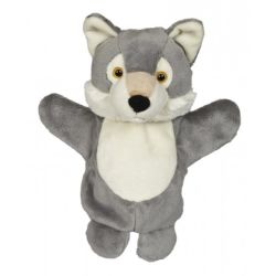 25cm de lado Animal de pelúcia realista Marionetas Lobo Cinzento Fantoche de mão