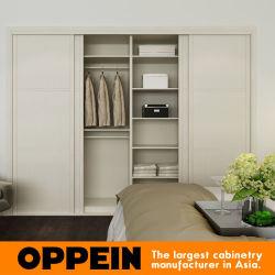 Oppein blanc moderne construit en glissant la mélamine armoire en bois (YG16-M05)