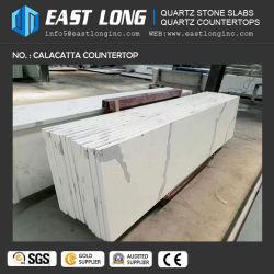 Snow White Calcatta veines de quartz de marbre pierre artificielle pour les comptoirs de pierre d'ingénieur du plan de travail