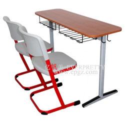 Qualitäts-doppelter Kursteilnehmer-Schreibtisch-Plastikstuhl eingestellt für Schule