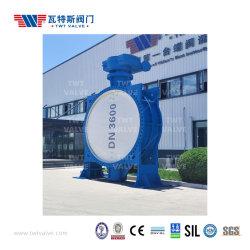 DN150-DN3600 수동 전기 유압 공압 액추에이터 빅/슈퍼/대형 덕타일 철 이중 플랜지 탄성 시트 편심/오프셋 버터플라이 밸브