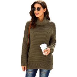 秋の冬の女性の固体タートル・ネックのプルオーバーの女性の中間の長くシックな女性ジャンパーのセーター