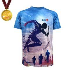 100% Polyester-kühles schnelles trockenes Marathon-T-Shirt, laufendes Shirt-Sublimation-Shirt-Geschenk innen