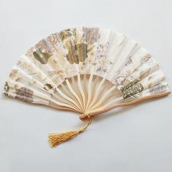 [Ich bin Ihre Fans], reinigte Großhandels-Soem-Qualitäts-Bambus kundenspezifischen faltbaren Normallack-Gewebe-Ventilator-Geschenk-Handventilator