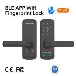 قفل الباب الذكي Ttlock ذو البيع الساخن مع بطاقة Fingerprint IC قفل إلكتروني ذكي آمن لكلمة المرور للبوابة والباب الداخلي قفل