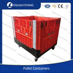 مطوية على وحدات تخزين التخزين الصناعية الكبيرة HDPE عالية الأداء ذات الأغراض الصناعية منصة بلاستيكية مطوي مع عجلات
