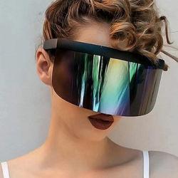 2020 grand châssis de la crème solaire intégré Hat Lunettes de protection du visage personnalisés masque Fashion Anti-Voyeur Visor Lunettes de soleil Lunettes de soleil