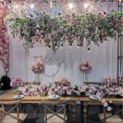 핑크 웨딩 테마 장식 테이블 중심 웨딩 배경 실크 인공 꽃꽂이 아치 꽃 러너