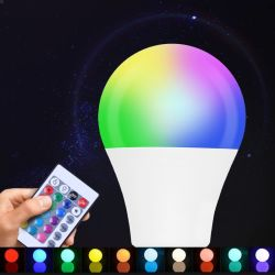 مصباح LED الذكي SMD 9W A60 E27 B22 E26 مصباح LED الخاص بوحدة التحكم عن بُعد RGBW ضوء توفير الطاقة ضوء المصباح