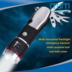 1 Watt de potência elevada segurança Telescópico Multi-Tool Martelo lanterna