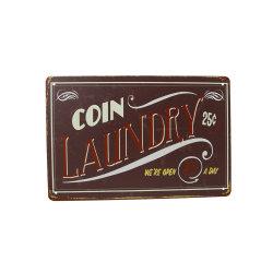 La publicité Vintage 24 heures Blanchisserie Boutique signe d'étain métallique