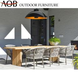 Jardim contemporâneo conjuntos de Mobiliário metálico Tecidos de cadeira de madeira retangular mesa de jantar