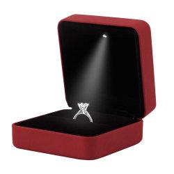 Gummischmucksache-Geschenk-Kasten des verlobungsring-LED heller (Weinrot)
