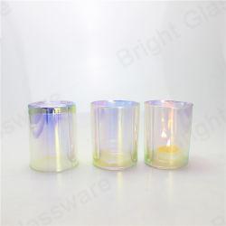 Bougie en verre de couleur transparente Electroplated titulaire pour la décoration