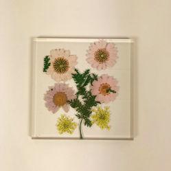 DIY acrylique carré personnalisé fleur pressée Coaster