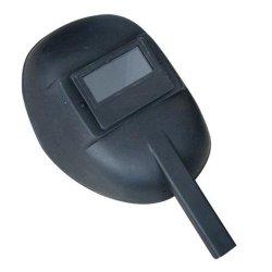 검은색 강철 종이 안전 용접 헬멧을 손으로 잡고 있습니다