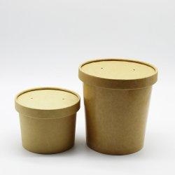 Tazza/recipiente per zuppa di carta patinata monouso Kraft PLA eco con carta Coperchio