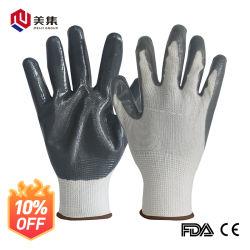 Venta directa de fábrica la resistencia al desgaste revestimiento de tejido de poliéster de cruce de Palm de nitrilo guantes de seguridad laboral