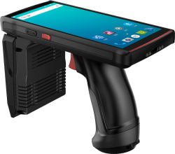 Android Market Longo Alcance UHF RFID PDA Handheld 1d 2D Qr Scanner de código de barras com empunhadura de pistola para o Depósito de gerenciamento de inventário