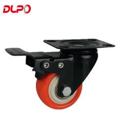Dlpoの足車は旋回装置のブレーキが付いている上の版カラー家具ポリウレタン足車の車輪を動かす