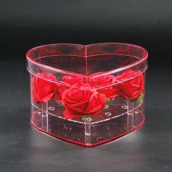 Scatola di presentazione Heart-Shaped acrilica del fiore della Rosa del perspex libero con i fori di acqua e del coperchio