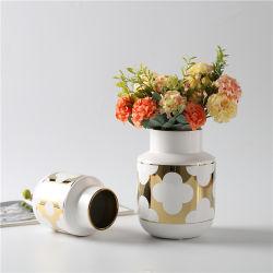 Home Decoratie stukken Goud Keramiek Bloemvaas Chinees Porselein Vaas