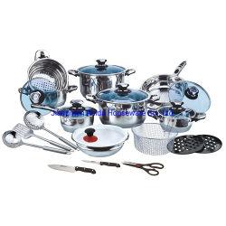 25pcs ustensiles de cuisine en acier inoxydable Bord large défini avec Hot Sale Pots et casseroles de cuisson à induction Set Ustensiles de cuisine couteau outils Ciseaux dans diverses tailles combinaison