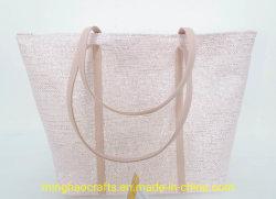 Bolsa de mano de paja de papel metalizado para mujer