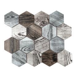 Modèle en bois aluminium hexagonal mosaïque irrégulier décoration murale