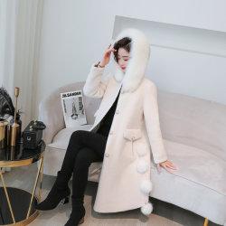 매력적인 디자인 Big Fox Fur Collar Coats 전단기 Wool Pluash 여성복 모피 아우터웨어 양피털 포 모피 재킷 아웃웨어