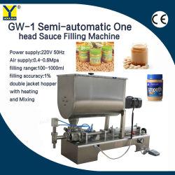 Gw-1 Pistón semiautomático solo pegar la cabeza de la máquina mezcladora de llenado de botellas con forma de U Tolva para espesa crema de Ají de maní Patse cosméticos