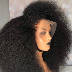아프로키 컬리 위그 내추럴 1b 13X4 레이스 프론트 인간 블랙 여성용 헤어 가발은 150% 선선선선선광 리메이입니다 머리 위