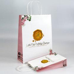 Riciclato progettare il sacco di carta per il cliente su ordinazione bianco di acquisto di lusso