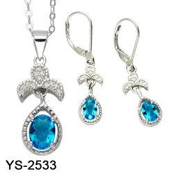 مجوهرات الموضة 925 فضية الأحجار الكريمة اللون مجموعات العروس CZ