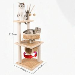 Heißer verkaufenhaustier-Produkt-Zubehör-Sisal-Katze-Baumstruktur-Eigentumswohnung-Möbel-großer hölzerner Rattan-Matten-Sommer-Großverkauf-preiswerter Katze Scratcher Baum