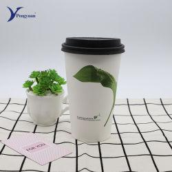 Biodegradable Compostable impresos personalizados venta de café, té, Pla de la Copa de papel de pared simple con tapas