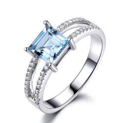 Fashion 925 Sterling Silver Jewellery Gemstone TOPAZE SKY Anneau bleu pour les femmes