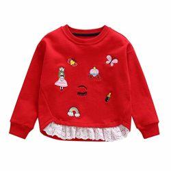 Малышу детской маленьких девочек Cute Топс вышивка Пэтчворк Sweatshirt Pullover одежды
