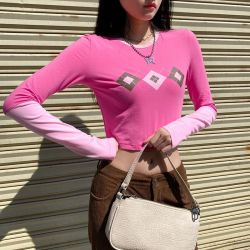 핑크 땀 흘리며 크롭 탑 티셔츠 여성용 캐주얼 코튼 롱 슬리브 티셔츠 레이디스 패치워크 패션 티셔츠